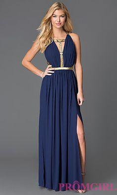 Image of floor length sleeveless open back gold design detail dress Style: CQ-ISD2851 Front Image