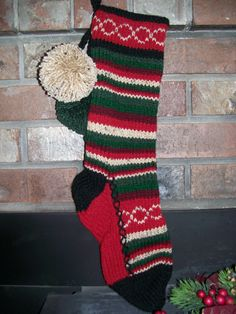 Old Fashioned Hand Knit Rustic Series Christmas Stocking in Horizontal Stripes with Chain Link detail by SantasSW, $59.95