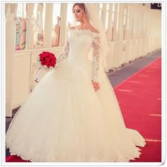 Princess Long Sleeve Muslim Wedding Dress Lace White Tulle Ball Gown