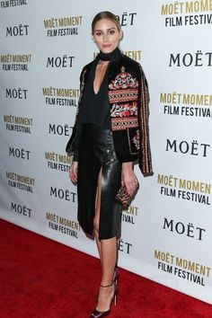 Olivia Palermo wearing Zara Embroidered Jacket, Brian Atwood Oriana Snakeskin Peep-Toe Sandals #brianatwoodoriana
