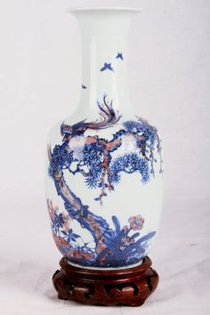"""EARLY 18TH CENTURY """"DAQINGKANGXINIANZHI"""" MARKED BLUE AND WHITE WITH IRON RED PROCELAIN VASE PAINTED WITH PHOENIX W:3.5"""" H:8.5"""""""