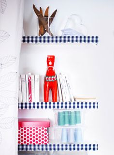 Shelves with style  With a little imagination, even storage can get creative. Just glue textile strips onto LACK shelves for some individual style in your storage space.