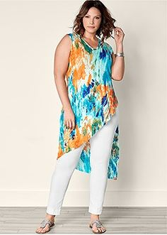 Plus Size Ribbed Tie Dye Tunic Top in Turquoise Multi Curvy Fashion, Plus Size Fashion, Plus Size Dresses, Plus Size Outfits, Urban Outfits, Fashion Outfits, Fashion Clothes, Plus Size Tips, Basic Shirts