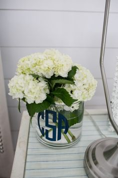 Monogrammed vase: http://www.stylemepretty.com/living/2014/10/20/the-picket-fence-project-home-tour/ | Photography: Bruce Plotkin - http://www.bruceplotkin.com/