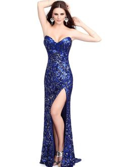 Primavera 9681 Blue Evening Dress #CrushingOnRissyRoos #favorite #cute #fashion #RissyRoos #style #Primavera #prominspiration #prom #prom2k15 #promfashion #partydress #party #fun #purple #longgown #gown #sequins #slitfront