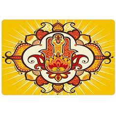 Hamsa Pet Mats for Food and Water by Ambesonne, Ethnic Sun Inspired Design Aura Energy Yoga Mantra Theme with Ornaments, Rectangle Non-Slip Rubber Mat for Dogs and Cats, Yellow Orange Brown ** Find out more about the great product at the image link. (This is an affiliate link) #DogFeedingWateringSupplies