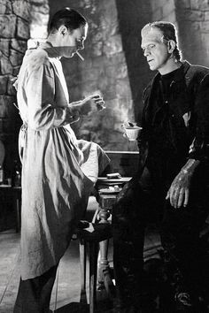 """zombiepussyliquor: """"  Colin Clive and Boris Karloff on the set of Bride of Frankenstein (1935) """""""