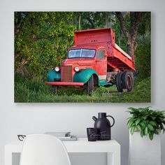 Napa Valley Photograph California Wine Country Vintage Truck Canvas, Retro Vineyard Home Decor, Winery Family Room Wall Art, Green Red Decor by SusanTaylorPhoto on Etsy