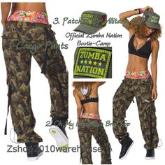 ZUMBA® 3 Pce.Mashed Up Cargos+Patched Up Military Hat Cap+Hooded V-BRA U.K RARE…
