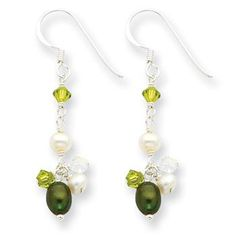 Sterling Silver Green & White Freshwater Cultured Pearls/Crystals Earrings