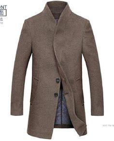 KXP Mens Slim Solid Mid-long Lapel Trench Coats Peacoats Khaki S