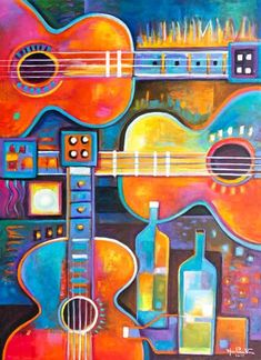 Guitars and Wines Large Modern Abstract acrylic painting on canvas Marlina Vera fine art gallery Cubist Fauvism Jazz Painting, Guitar Painting, Guitar Art, Large Painting, Acrylic Artwork, Acrylic Painting Canvas, Cubism Art, Arte Pop, Fine Art Gallery