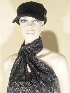 Black Cadet Military Fashion Hat Cap Scarf Lot Scala Pronto One Size Winter | eBay