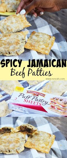 Jamaican beef patties are delicious flaky, golden puff pastry filled with a spicy and seasoned beef filling. Jamaican beef patties are delicious flaky, golden puff pastry filled with a spicy and seasoned beef filling of curry, thyme, and habanero peppers. Jamaican Beef Patties, Jamaican Patty, Jamaican Recipes, Beef Recipes, Cooking Recipes, Jamaican Dishes, Puff Pastry Recipes, Puff Pastries, Street Food