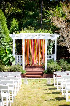 Colorful Ribbon Backdrop I love this idea for up at the altar