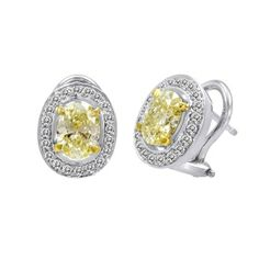 SES Creations Fancy Yellow Oval Diamond & Pave Earrings