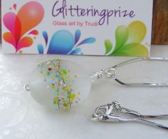 Necklace With Glass Lampwork Bead Rainbow by GlitteringprizeGlass