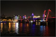 River Thames and Hungerford Bridge by night - London, UK, Great Britain