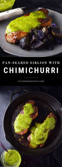 Pan-seared sirloin steak topped with Argentinian Chimichurri sauce.