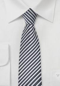 Striped Skinny Tie in Dark Grey