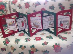 Concertina card using ten Clarity 'Twas the Night Before Christmas' stamps - five each side