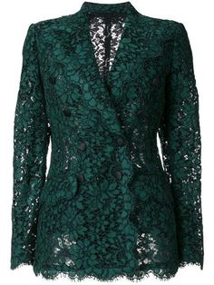 -- Dolce & Gabbana double breasted lace blazer -- only alwaysShop online for the latest clothing in Dolce and Gabbana women. Browse hundreds of designer boutiques for Dolce Gabbana for women. Blazer Outfits, Blazer Fashion, Dress Outfits, Green Lace, Green Dress, Teal Green, Mode Monochrome, Look Blazer, Casual Blazer