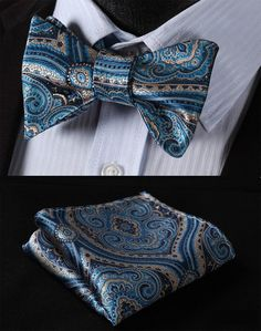 Blue and Silver Paisley Bow Tie Set