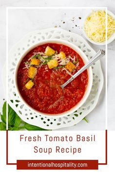 This fresh tomato basil soup recipe is full of creamy sweet tomato flavor using just-picked tomatoes, onions, basil, marsala wine, a little butter, and cream.