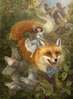Renard and the Strawberries: Painting Demonstration — Gallery Gerard Art And Illustration, Fantasy Kunst, Fox Art, Fairy Art, Fantasy Artwork, Fantasy Paintings, Whimsical Art, Art Plastique, Amazing Art