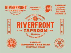 Riverfront Taproom designed by Zane Kaiser. Connect with them on Dribbble; Typography Logo, Typography Design, Beer Label Design, Identity Design, Identity Branding, Corporate Identity, Brochure Design, Visual Identity, Tap Room