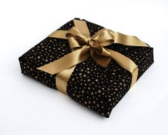 Black and Gold Reusable Fabric Gift Wrapping gold by happywrap, £9.95