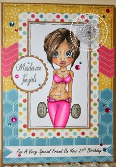 Freckles Place: Muscles are for Girls ~ Copics: Skin - E33, E11, E21, E51, R20 Hair - E49, E47, E57 Pinks -RV29, RV06, RV04, RV02 Papers: Echo Park Fine and Dandy