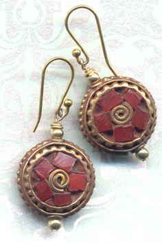 Nepal Earrings Tibet Coral Inlay Earrings  Mandala by Annaart72, $35.00