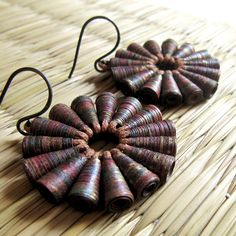 Rustic Treasure earrings - Brown Earrings - Paper bead jewelry - Tribal Jewelry - Rustic, paper bead, tribal, Dark Brown, Gold. $45.00, via Etsy.