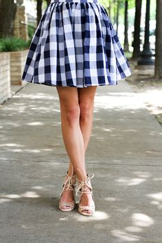 gingham fit & flare dress, beige bow tie wedges | sequinsandthings.com