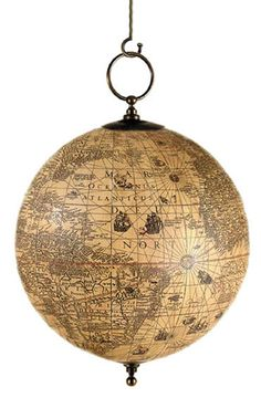 hanging old world globe ...perfect for Jude's room