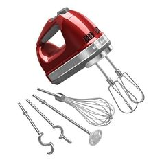 KitchenAid KHM926CA Candy Apple Red 9-speed Digital Hand Mixer with Turbo Beater II Accessories Pack (Metal)