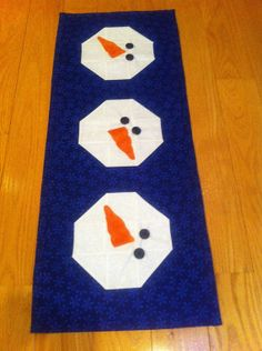 Aunt Roo's Jolly Snowmen pieced table runner by auntroo on Etsy, $35.00