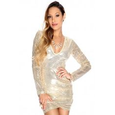 Sexy Gold Long Sleeve V Neck Sequin Uneven Hemline Party Dress