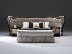 Double bed with tufted headboard SCALA by Rozzoni