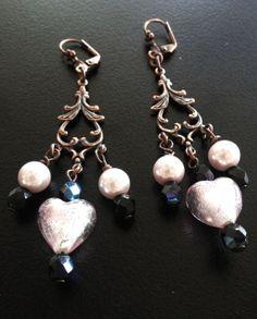 Handmade Earrings with hearts foil glass pendants by BYTWINS, €38.00