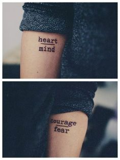2017 trend Friend Tattoos - heart over mind courage over fear tattoo - Google Search...