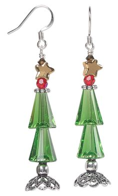Christmas Tree Earrings with Swarovski Crystal Beads, Antiqued Sterling Silver Bead Caps and Antiqued Gold Pewter Beads by Jamie Smedley. #christmasjewelry