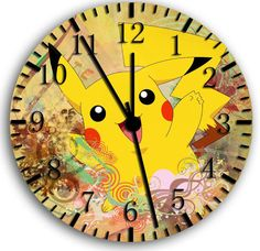 Pokemon Pikachu wall Clock 10 Room Decor W24 by Clock2012us, $11.95
