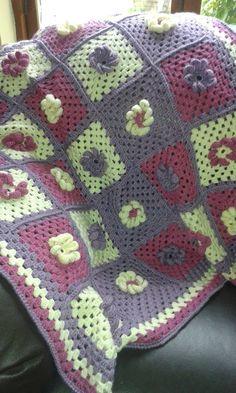 Flower Power Granny Square Afghan Crochet by DesignedbySonya