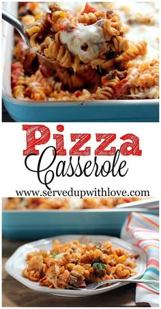 Pizza Casserole recipe from Served Up With Love. Ground beef, pizza sauce, pepperoni, green peppers, and of course lots of stringy mozzarella cheese. The perfect weeknight meal for pizza lovers.s(Easy Meal With Ground Beef Dinner Tonight) Supper Recipes, Entree Recipes, Pasta Recipes, Cooking Recipes, Aloo Recipes, Recipe Pasta, Savoury Recipes, Milk Recipes, Egg Recipes
