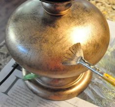 How to create a burnished gold finish with Rub 'n Buff and a fan brush!