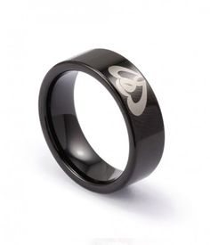 Black Tungsten Carbide Promise Ring with Engraved Couple Hearts - Tungsten Republic