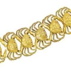 Lot 525 - Gold and Cabochon Ruby Crab Cuff Bracelet, Mario Buccellati