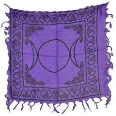 "Triple Moon Pentagram altar cloth 18"" x 18"""